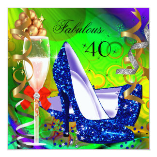 Fabulous Colorful Abstract Glitter High Heel Party 5.25x5.25 Square Paper Invitation Card
