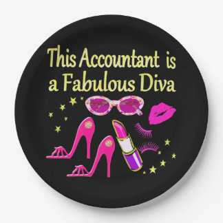 FABULOUS DIVA ACCOUNTANT DIVA 9 INCH PAPER PLATE