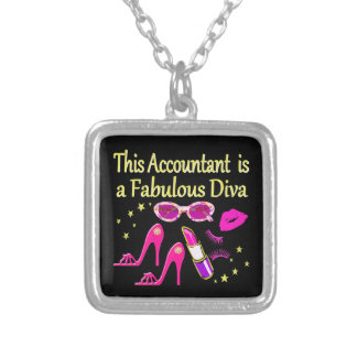 FABULOUS DIVA ACCOUNTANT DIVA SILVER PLATED NECKLACE