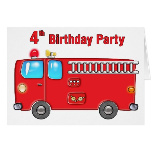 Fabulous Fire Truck 4th Birthday Greeting Card