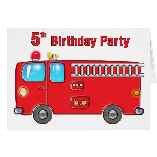 Fabulous Fire Truck 5th Birthday Greeting Card