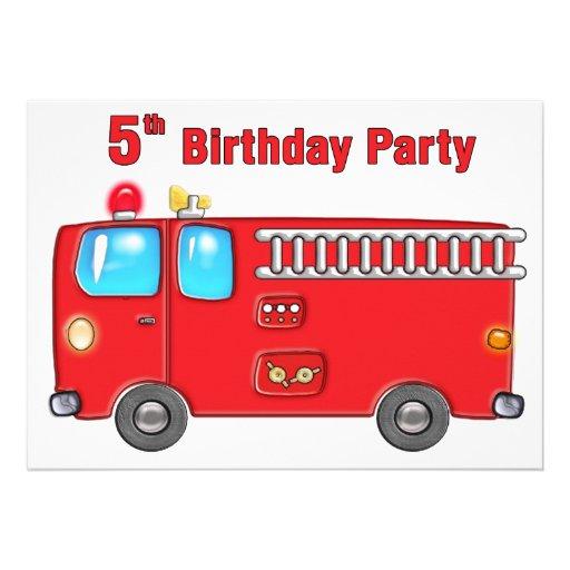 Fabulous Fire Truck 5th Birthday Personalized Invitation