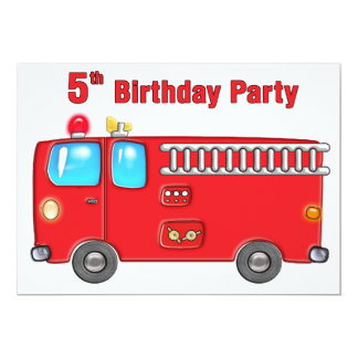 Fabulous Fire Truck 5th Birthday Personalized Invitation