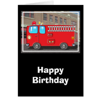 Fabulous Fire Truck and Fire Station Greeting Card