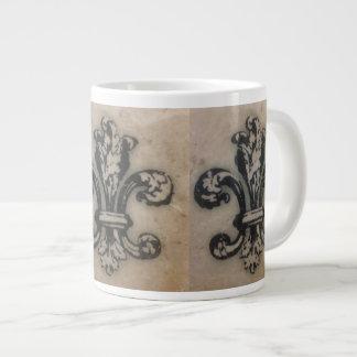 FABULOUS FLEUR DE LIS VINTAGE PRINT LARGE COFFEE MUG