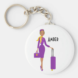 Fabulous Flight Attendant Basic Round Button Key Ring