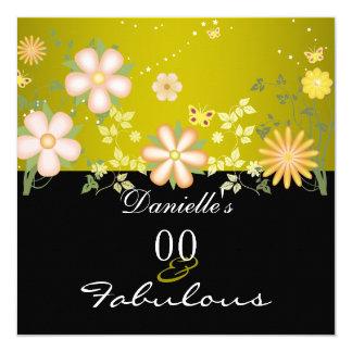 "Fabulous Floral Flowers Peach Green Black 5.25"" Square Invitation Card"