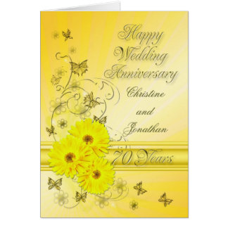 Fabulous flowers 70th anniversary for a couple greeting card