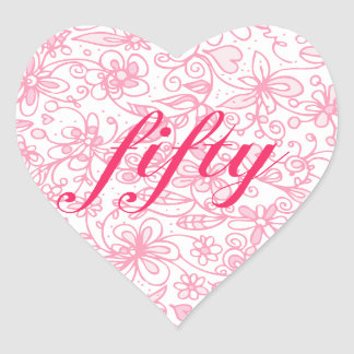 Fabulous Flowery Fifty Heart Stickers