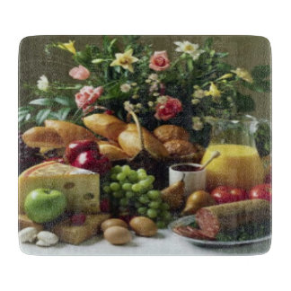 FABULOUS FOOD FEAST GLASS CUTTING BOARD 6x7