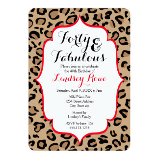 Fabulous Forty Leopard Print Card