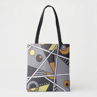 Fabulous geometric shape tote in neutral colors
