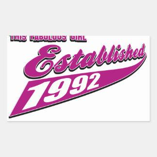 Fabulous Girl established 1992 Rectangular Sticker