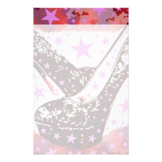 Fabulous Glamourous Pink Purple High Heels Stars Stationery