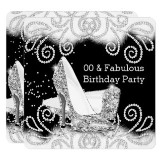 Fabulous Glitter Silver High Heels Birthday Party Card