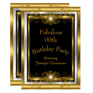 Fabulous Gold Black Birthday Party Invitation
