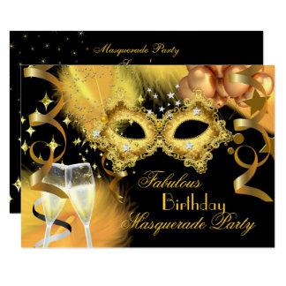 Fabulous Gold Black Masquerade Birthday Party Card
