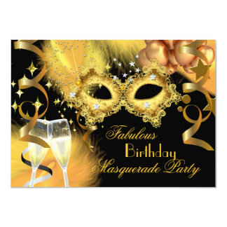 Fabulous Gold Black Masquerade Birthday Party Card