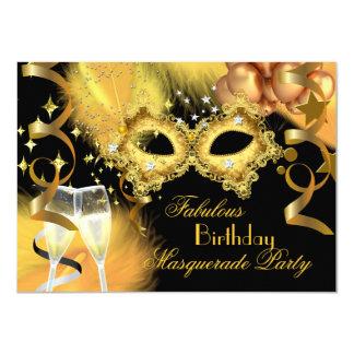 Fabulous Gold Black Masquerade Birthday Party 11 Cm X 16 Cm Invitation Card