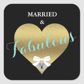 Fabulous Gold Heart Tiffany Party Stickers