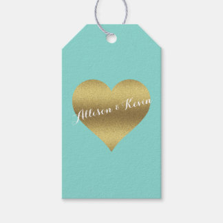 Fabulous Gold Heart Tiffany Teal Blue Gift Tags