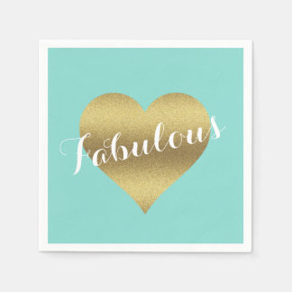 Fabulous Gold Heart Tiffany Teal Blue Napkins Paper Napkin