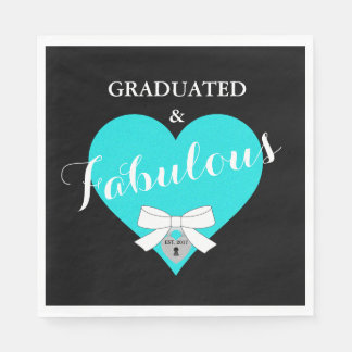 Fabulous Heart Graduation Party Paper Napkins
