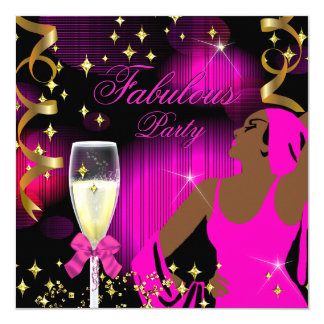 Fabulous Hot Pink Glitter Diva Birthday 13 Cm X 13 Cm Square Invitation Card