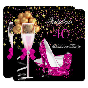 Pink And Black Invitations Announcements Zazzle Au