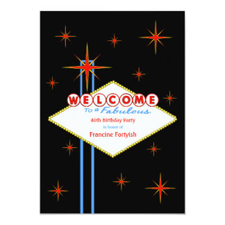 "Fabulous Las Vegas Sign Birthday Party Invitation 5"" X 7"" Invitation Card"