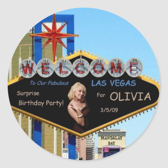 Fabulous Las Vegas Surprise Birthday Party Sticker