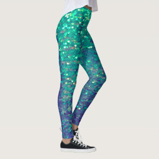 fabulous mermaid faux aqua blue sequin leggings