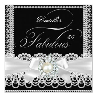 Fabulous Party Black White Pearl Lace Bow 13 Cm X 13 Cm Square Invitation Card