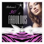 Fabulous Pink Black Zebra 30th Birthday Party Custom Invites