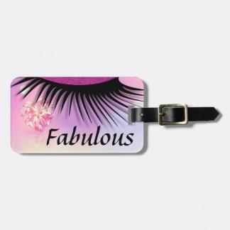 Fabulous Pink Diamond-Glitter Eyes Bag Tag