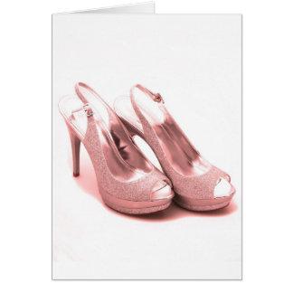 Fabulous Pink Glitter Stilettos Card