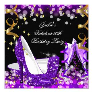 Fabulous Purple Glitter High Heel 50th Birthday 13 Cm X 13 Cm Square Invitation Card
