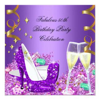 Fabulous Purple Glitter High Heels Champagne 13 Cm X 13 Cm Square Invitation Card