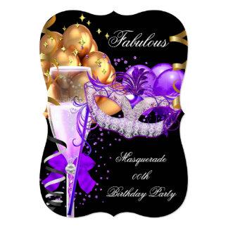 Fabulous Purple Gold Black Masquerade Party 4 Card