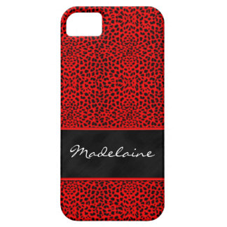 Fabulous Red and Black Cheetah print Barely There iPhone 5 Case