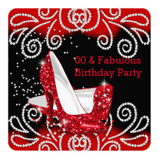 Fabulous Red Glitter High Heels Birthday Party 13 Cm X 13 Cm Square Invitation Card