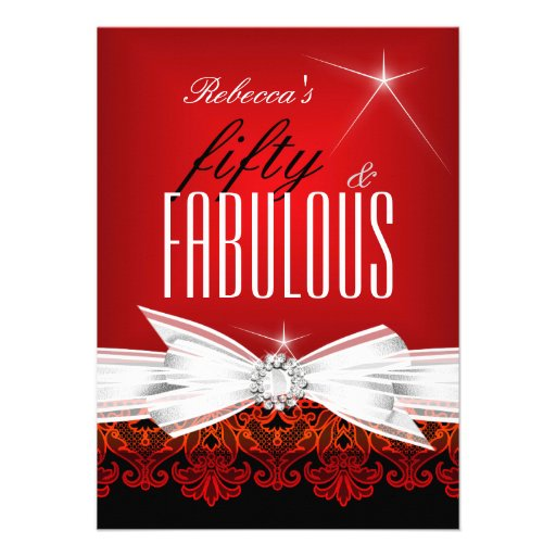Fabulous Red Lace Black 50th Birthday Party Invite