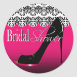 Fabulous Scalloped Damask Stiletto Bridal Shower Round Sticker