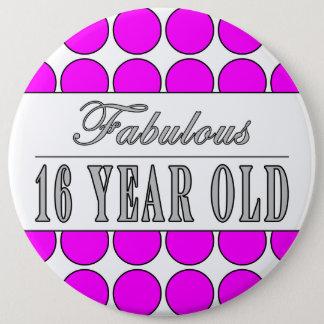 Fabulous Sixteen Year Pink Polka Dots on White 6 Cm Round Badge