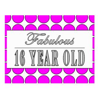 Fabulous Sixteen Year Pink Polka Dots on White Postcard