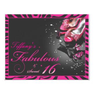 "Fabulous & Sweet 16! 4.25"" X 5.5"" Invitation Card"