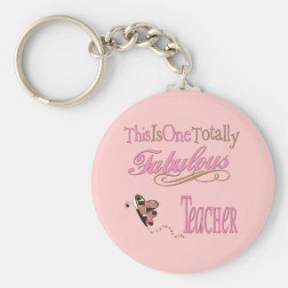 Fabulous Teacher Butterfly Basic Round Button Key Ring