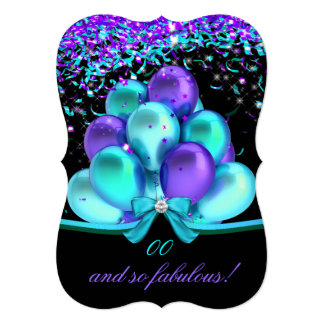 Fabulous Teal Purple Streamers Balloons Birthday 13 Cm X 18 Cm Invitation Card