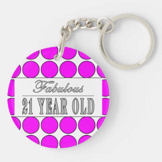 Fabulous Twenty One Year Old Pink Polka Dots Double-Sided Round Acrylic Key Ring