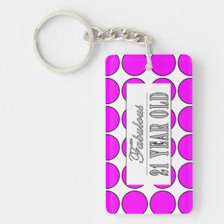 Fabulous Twenty One Year Old Pink Polka Dots Double-Sided Rectangular Acrylic Key Ring